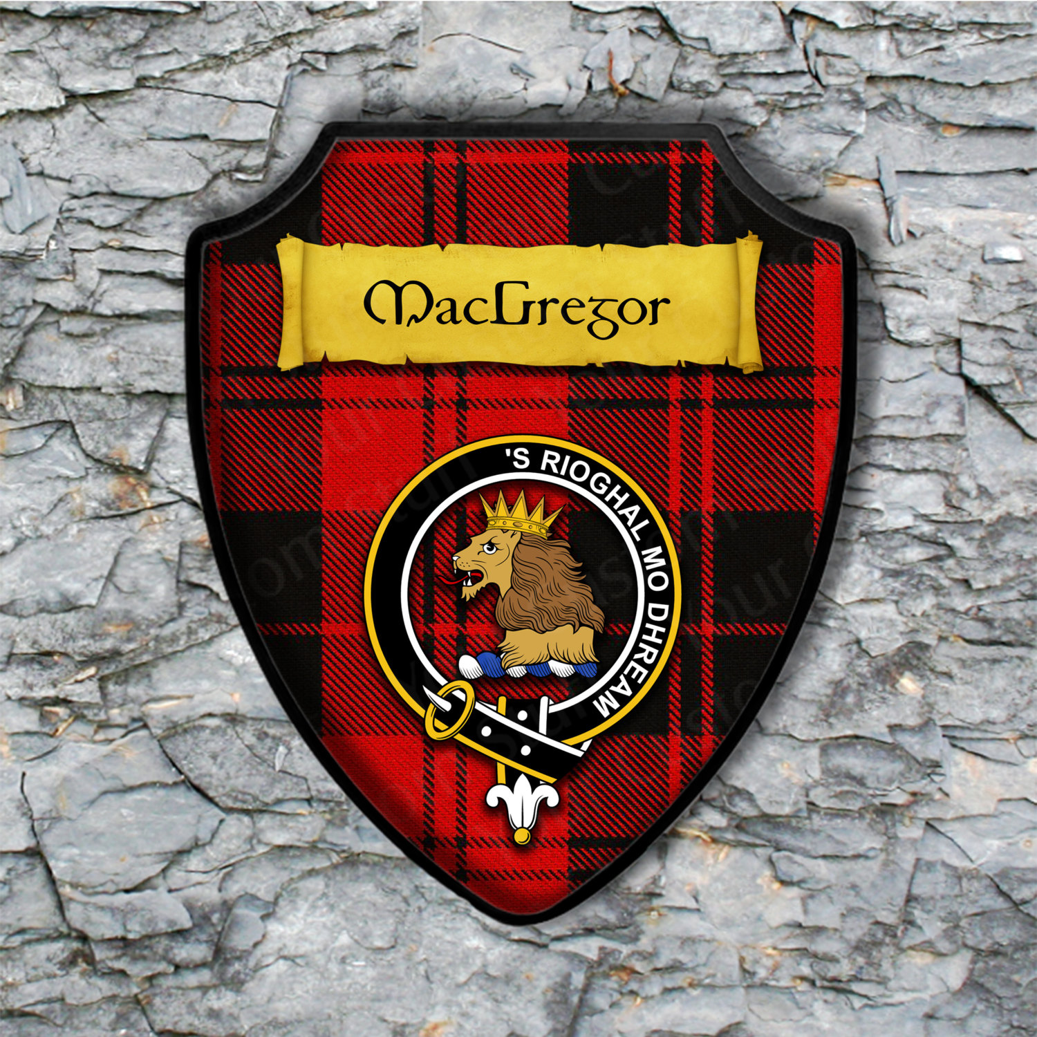 Personalized Custom Shield Plaque with Scottish Clan Coat of Arms Badge on Clan Plaid Tartan Background Wall Art