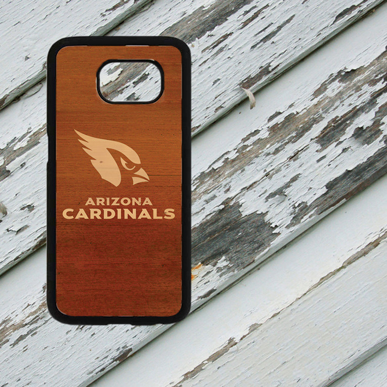 Arizona Cardinals Dark Wood Look Design on Samsung Galaxy S6/S7 Black Rubber Silicone Case