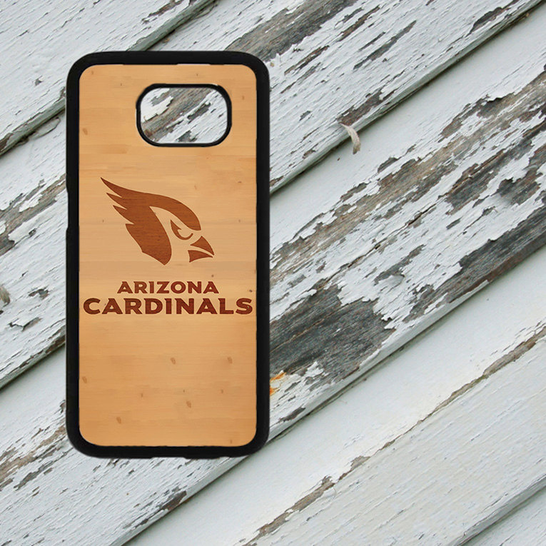 Arizona Cardinals Light Wood Look Design on Samsung Galaxy S6/S7 Black Rubber Silicone Case