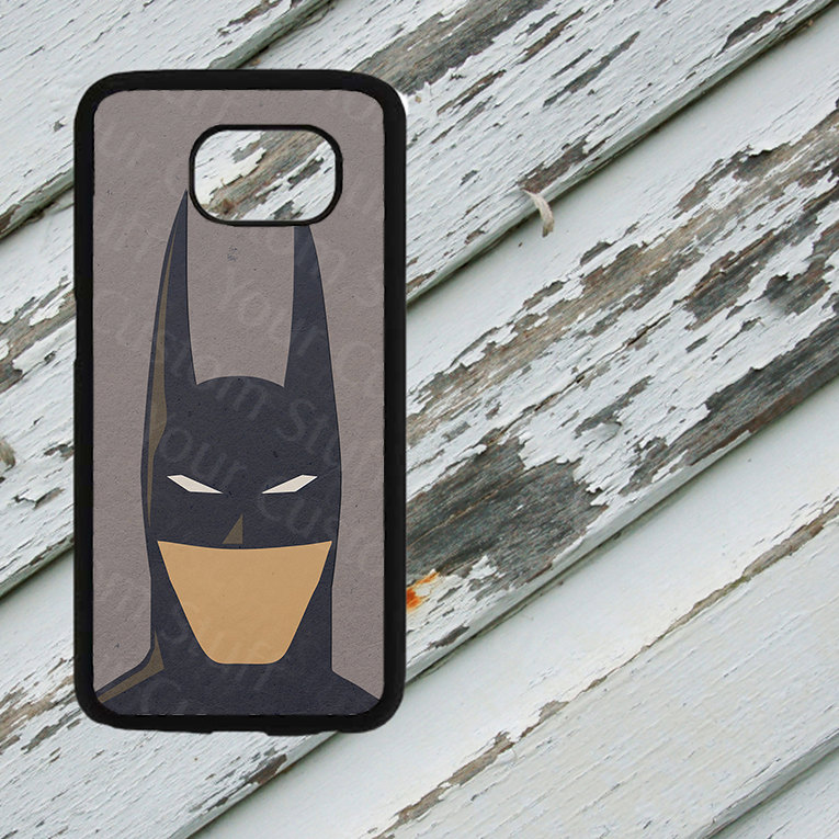 Arkham Batman Minimalist Design on Samsung Galaxy S6/S7 Black Rubber Silicone Case