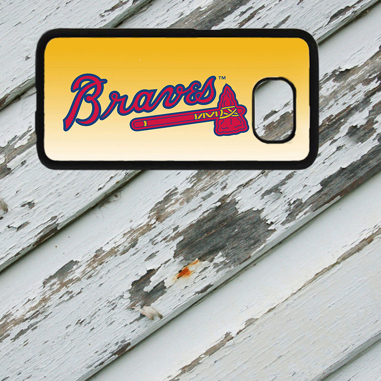Atlanta Braves Design on Samsung Galaxy S6/S7 Black Rubber Silicone Case