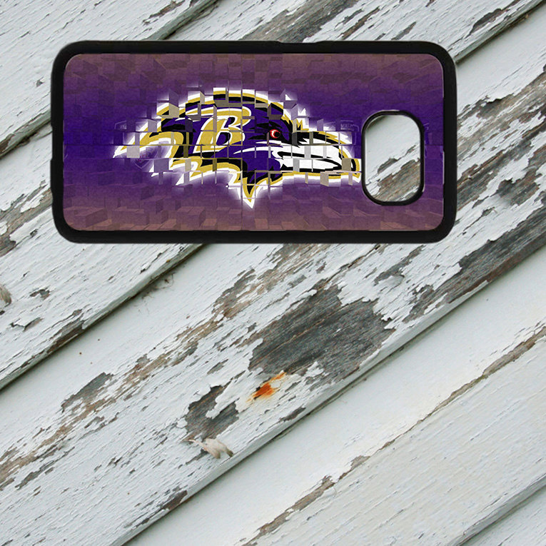 Baltimore Ravens Crest Design on Samsung Galaxy S6/S7 Black Rubber Silicone Case
