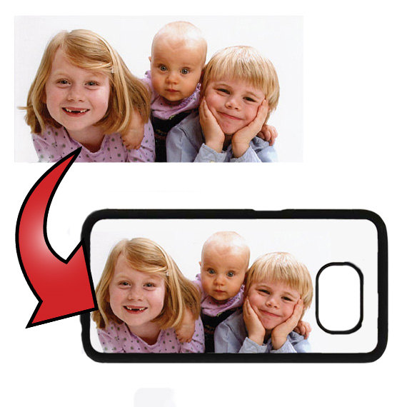 Custom Personalized Photo or Logo on Samsung Galaxy S5/S6/S7 Black Rubber Silicone Case