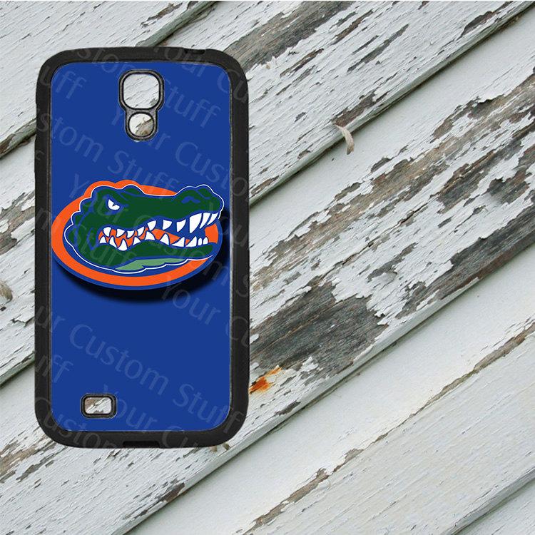 Florida Gators Blue Background on Samsung Galaxy S4 Black Rubber Silicone Case