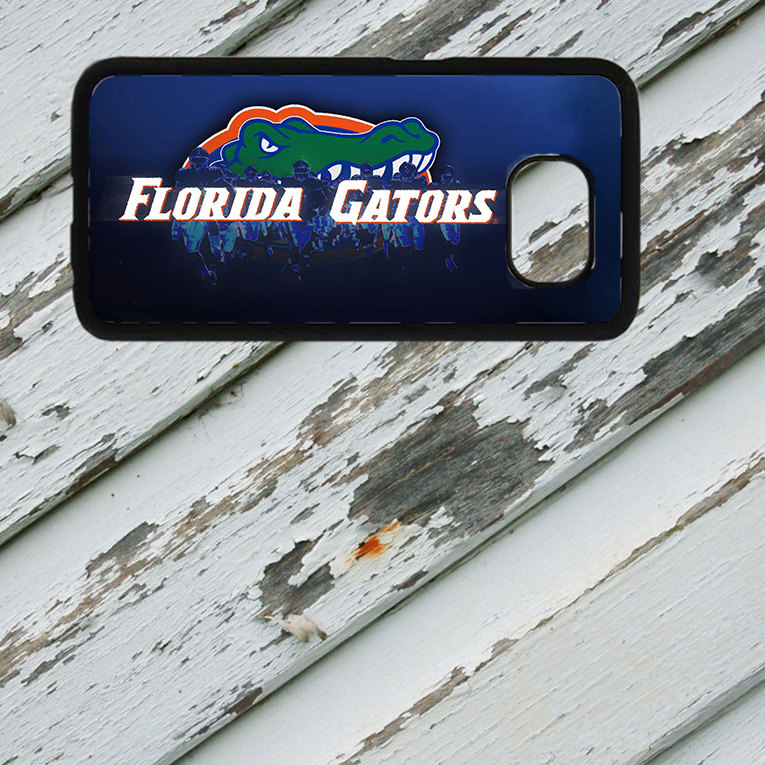 Florida Gators Dark Blue Design on Samsung Galaxy S6/S7 Black Rubber Silicone Case