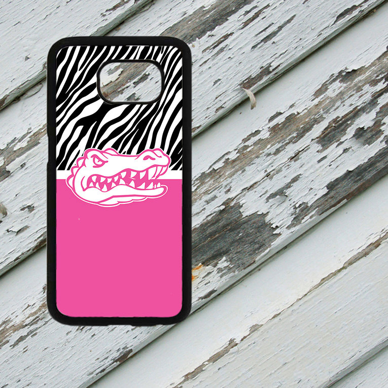 Florida Gators Head Pink Zebra Design on Samsung Galaxy S6/S7 Black Rubber Silicone Case