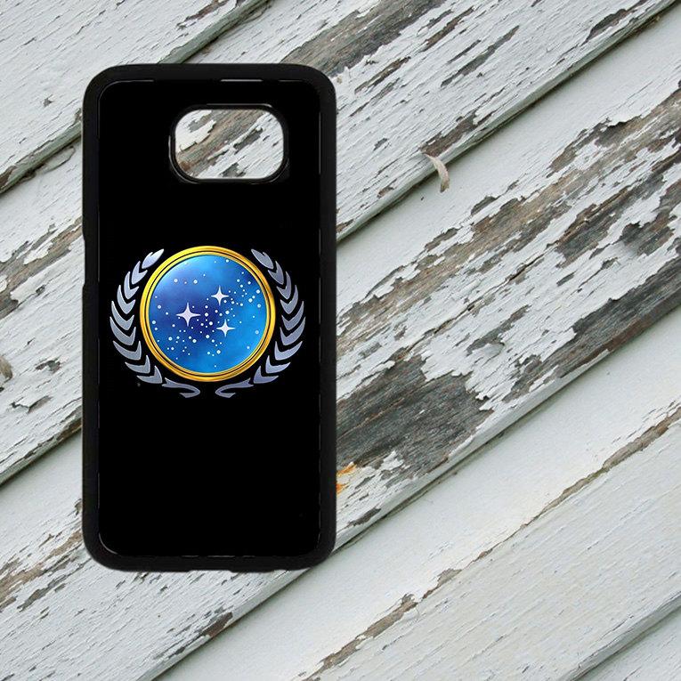 Star Trek TNG Starfleet Logo Insignia on Samsung Galaxy S6/S7 Black Rubber Silicone Case
