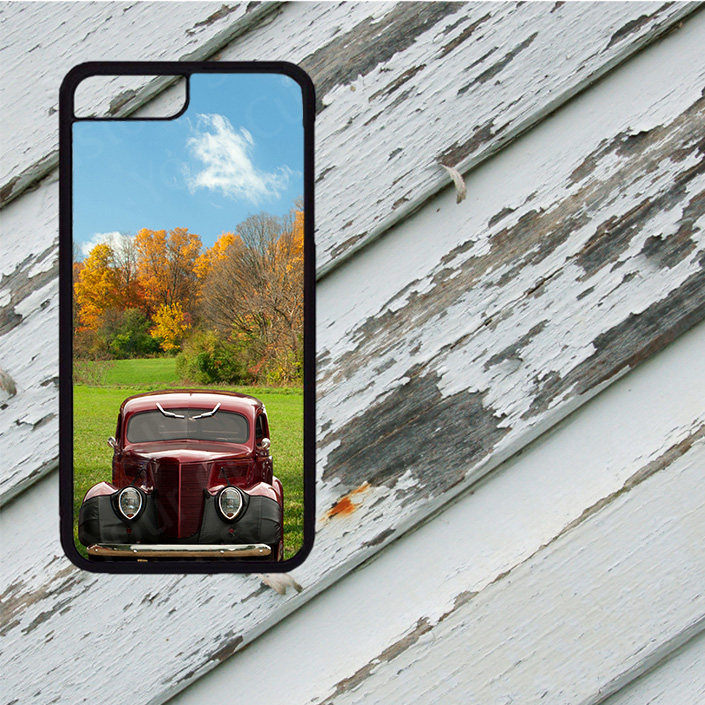 newest b95b0 69e14 Classic BURGUNDY Hot Rod Image Design on iPhone 5/5s/5c/6/6 Plus/7/7  Plus/8/8 Plus Rubber Silicone Case