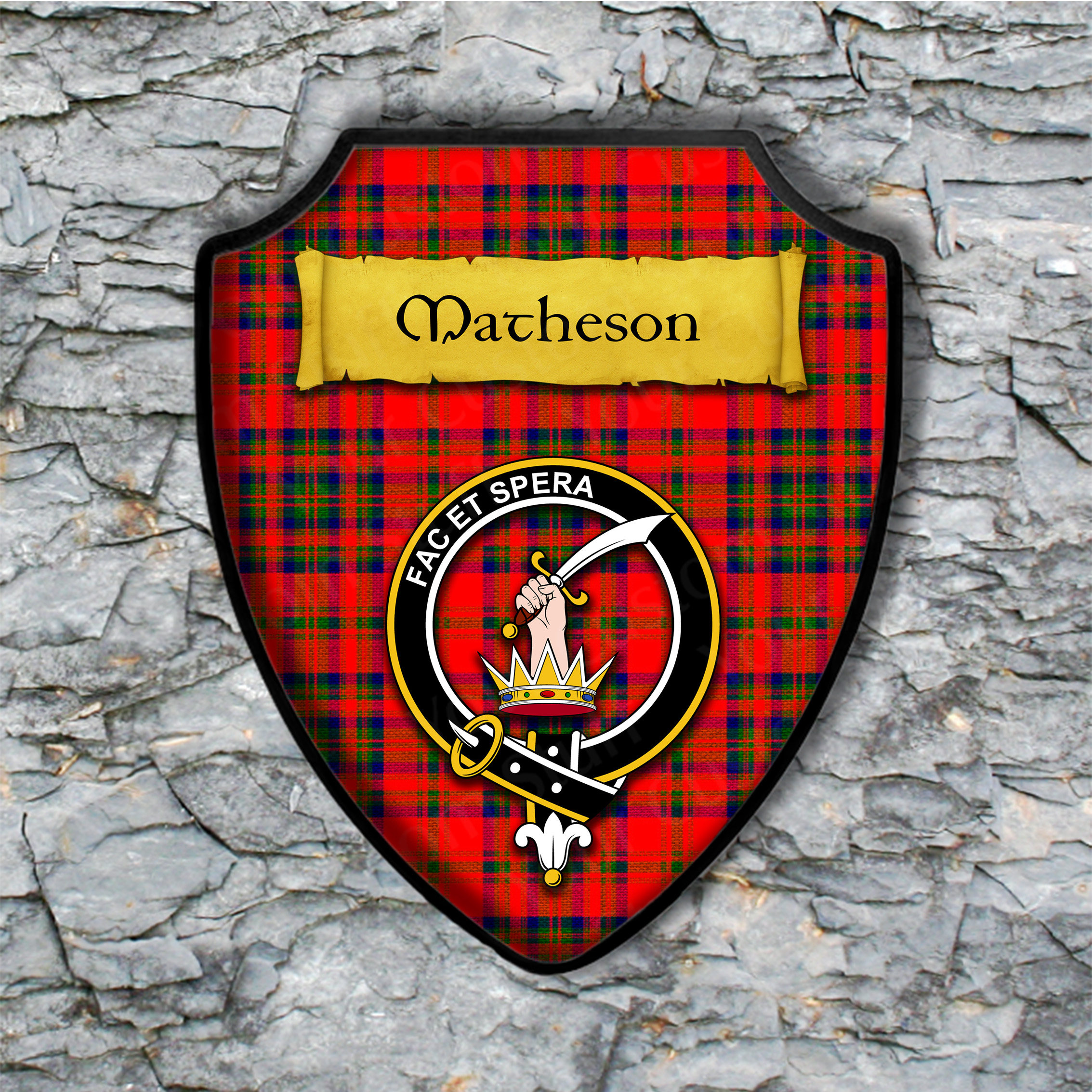 Matheson Shield Plaque With Scottish Clan Coat Of Arms